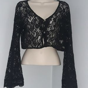 Kendall & Kylie Lace Bell Sleeve Crop Top
